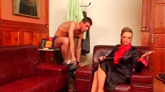 Guy gets tied up and completely dominated by a hot bitch